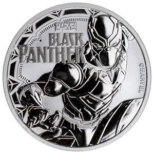 2018 Tuvalu Black Panther 1 oz Silver Marvel Series $1 BU Coin in Cap SKU52233