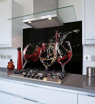 Three Wine Splash Printed Kitchen Glass Splashback Toughened /& Heat Resistant