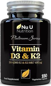 Vitamin D3 4000IU and vitamin K2 100μg MK7, d3 and K2 Vegetarian Capsules