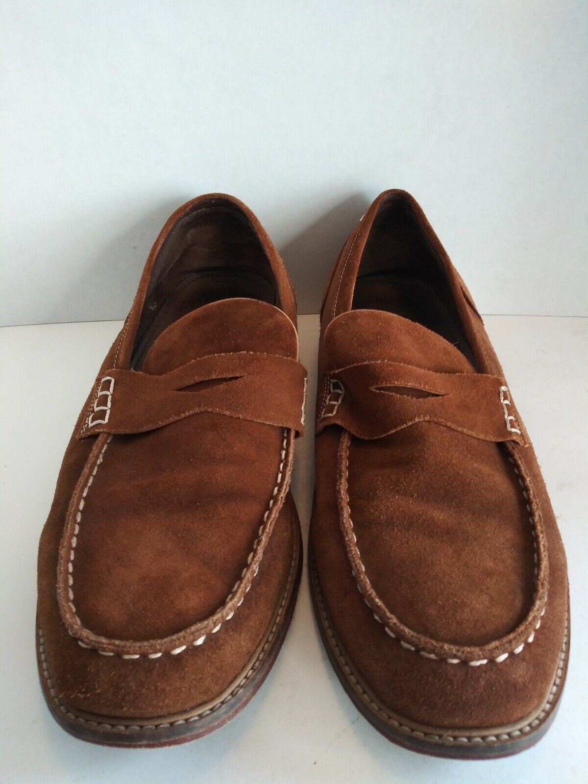 Testosterone Village Six Brown Suede Penny Loafers Moc Toe Mens Size US 13