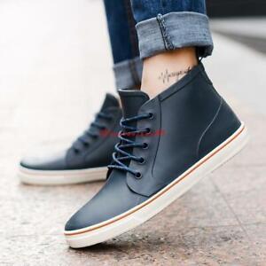 new mens laceup chukka rain boots antiskid rubber outdoor