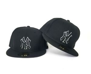 Details about New Era 59Fifty Black with White Outline New York Yankees  Logo fitted hat 6bedcfd3593