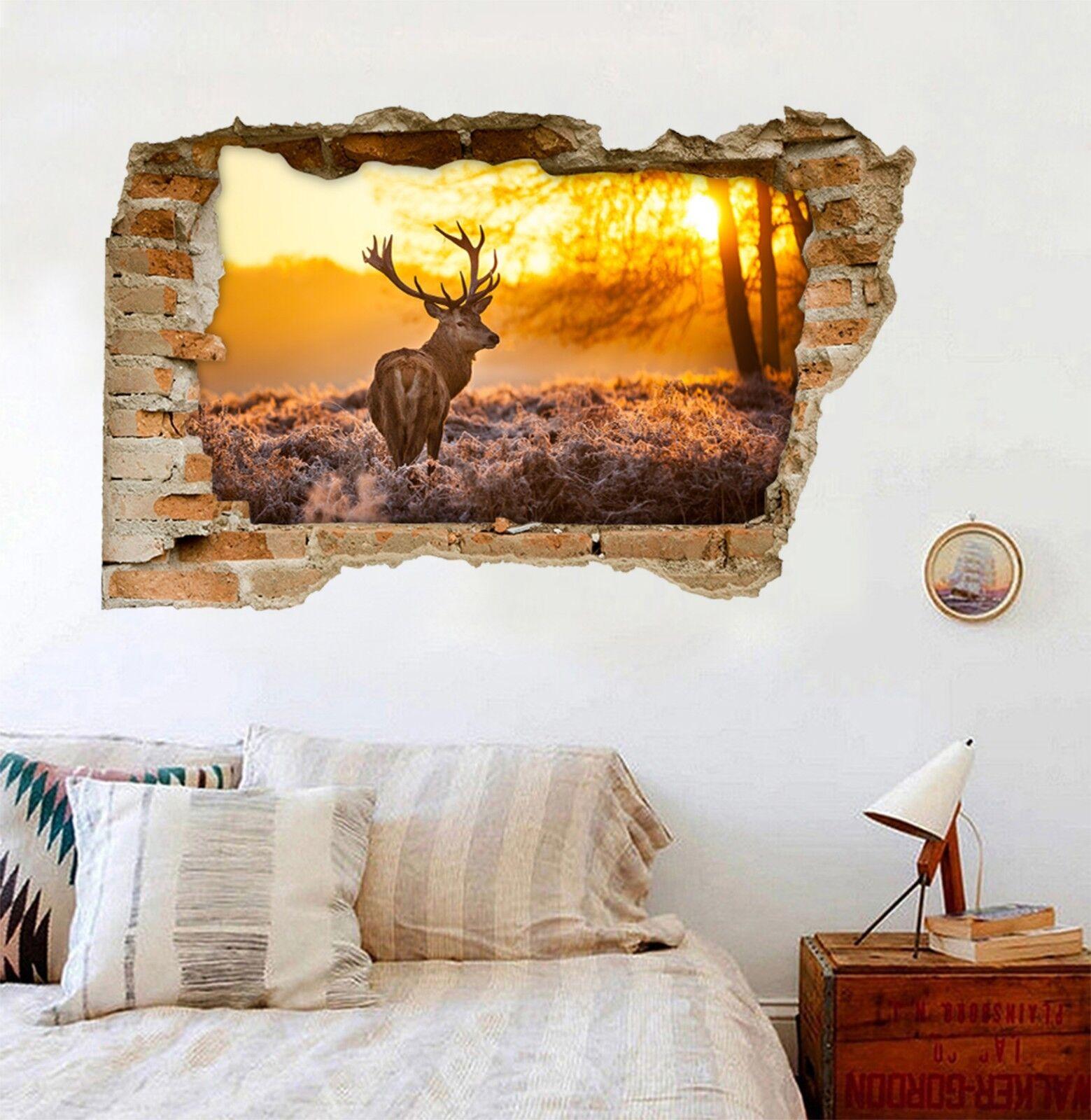 3D Einsame Hirsche Mauer Murals Mauer Aufklebe Decal Durchbruch AJ WALLPAPER DE