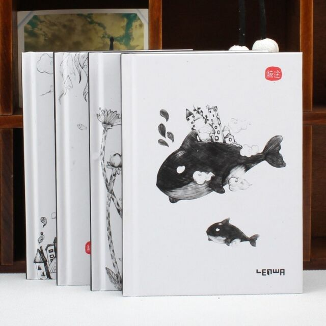 """""""Cute Whale"""" 1pc Notebook Sketchbook Hard Cover Diary Blank Cute Planner Journal"""