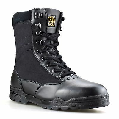 Mens New Leather Military Army Combat Walking Hiking Ankle Work Boots Shoes Size