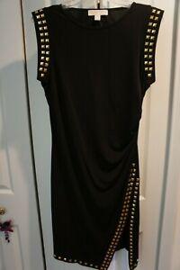 Michael-KORS-ladies-black-dress-with-slit-gold-studs-size-S