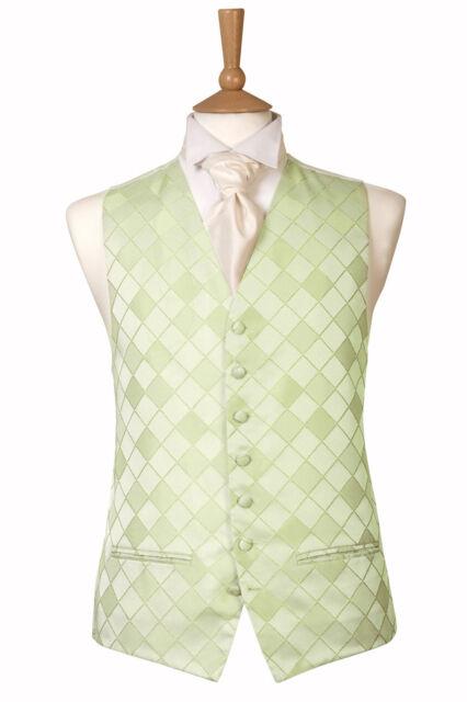 MENS PALE MINT GREEN CHECK DIAMOND WEDDING DRESS SUIT WAISTCOAT