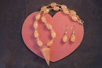 Beautiful Necklace With Rose Quartz And Crystal16 Inches.long Silver Clasps