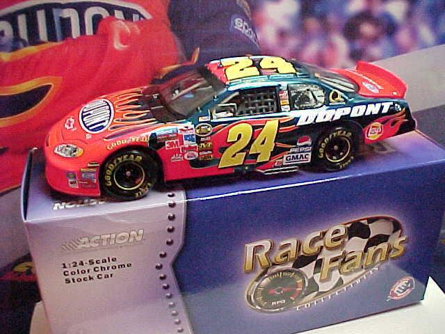 2005 JEFF GORDON 1 24 DAYTONA RACED WIN  24 Coloreee CHROME auto nuovo UNOPENED scatola