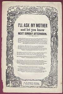 """De Marsan """" I'll Ask My Mother """" H Sonderabschnitt American Broadside Ballad 558ms-18.3ms"""