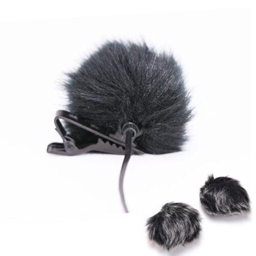 Schwarz Fell Windschutzscheibe Wind Muff für Revers Lavalier Mikrofon Mic fw