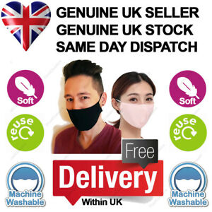 Face Masks Cotton Adult Breathable Reusable Washable Mouth Nose Mens Womens Uk Ebay