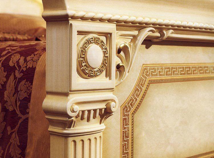 Italien Italien Italien Structure de lit existante lit double 160x200 Beige Or Brillant Style Classique 7b51da