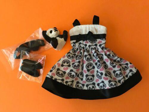 1SET Licca Chao Chao Panda Dress//Headband//Decor Panda//Earring//Random Black shoes