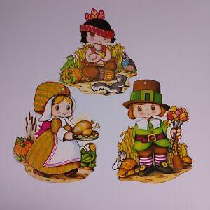 Details about Vintage Beistle Thanksgiving Decorations 70s Paper Die Cut  Pilgrims Native