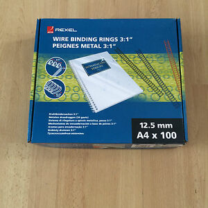 Binding Wires Number Size No 8 A4 12.5MM 34 loops rings 3:1 Pitch Black X 100  5028252011679