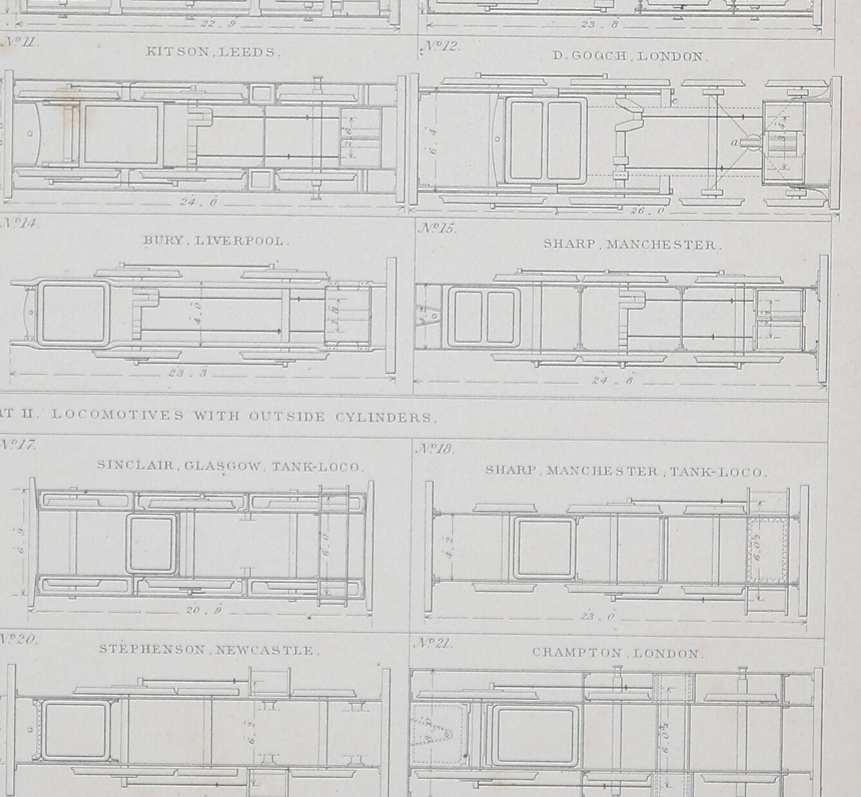 1860 LARGE LOCOMOTIVE PRINT  ILLUSTRATIONS OF ENGINE FRAMING FRAMING FRAMING FAIRBAIRN GOOCH 56dc93