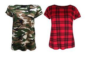 Ladies-Women-Tartan-Camouflage-Turn-Up-Short-Sleeve-Top-T-Shirt-Plus-Size-8-26