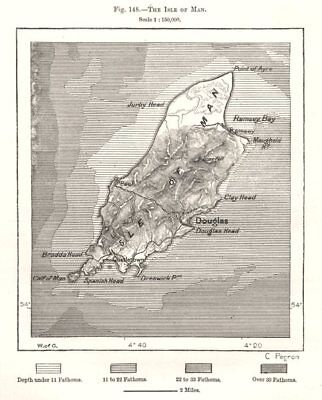 The Isle Of Man Art Prints Sketch Map 1885 Old Antique Vintage Plan Chart