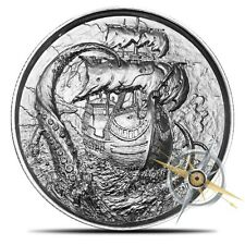 2 oz KRAKEN Silver Elemetal Privateer Ultra High Relief PIRATE Coin 4th Release