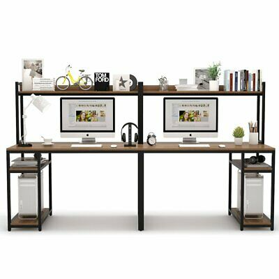 Hutch And Shelf Study Writing Table, Double Desk Home Office With Hutch