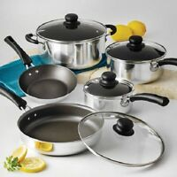 9-piece Pots And Pans Stainless Steel Nonstick Cooking Kitchen Home Cookware Set