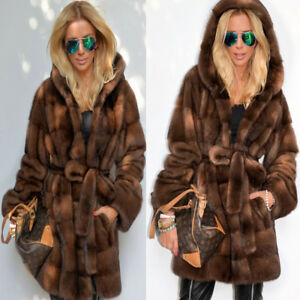 Ladies-Women-039-s-Brown-Jacket-Parka-Faux-Fleece-Fur-Hooded-Coat-Outwear-Overcoat