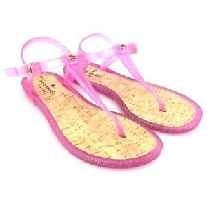 da8d6c0cbc51 Kate Spade Jelly Sandals  Yari  T Strap Pink Glitter Cork Shoes Sz 7 ...