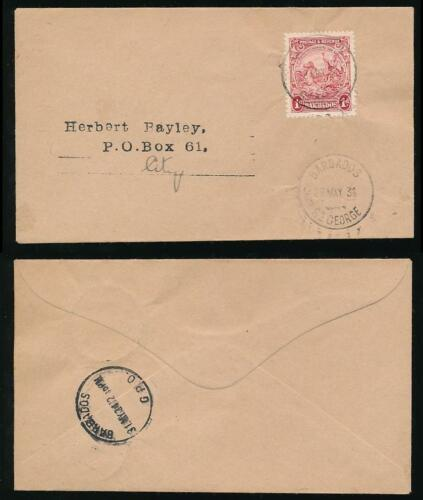 BARBADOS 1934 LOCAL RATE 1d SEAHORSE...ST GEORGE