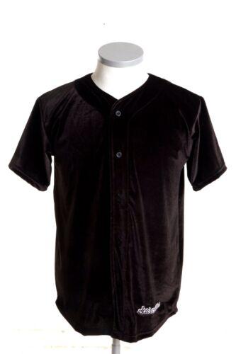 SCARCEWEAR DA UOMO Tinta Unita Nero Velour Baseball Jersey Maglia Top Taglia S a 4XL
