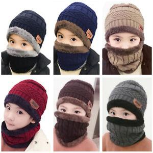 c3f3087f0da Winter Warm Fleece Scarf Beanie Hat Set Ski Neck Warmer Cap Knit ...