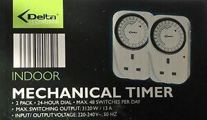 DELTA-tempo-Twin-Pack-meccanica-orologi-quadrante-di-24-ore-fino-a-48-INTERRUTTORI-al-giorno