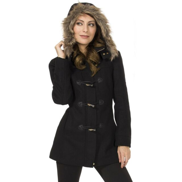 Womens Faux Fur Trim Lined Hooded Full Zip 3 Toggle Buttons Winter Autumn Jacket