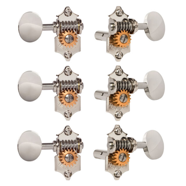 for Solid Pegheads 3L//3R Relic Nickel Waverly Guitar Tuners with Vintage Oval Knobs