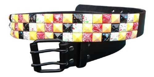 Multi Coloured Studded Belt Studded Fashion Belt with real leather lining