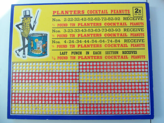 VINTAGE PLANTERS COCKTAIL PEANUTS 2 CENT PUNCH BOARD - EXCELLENT CONDITION
