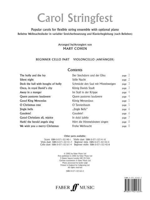 Carol Stringfest (beginner cello part) 0571521622 Cello Music Faber Music