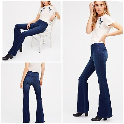 new design buying new rich and magnificent Free People Penny Pull-On Flare Jeans Size 24 Denim Blue NWT   eBay