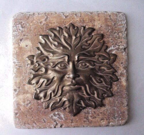 "Green man tile mold abs plastic reusable casting mould 6/"" x 6/"" x 1//3/"" thick"