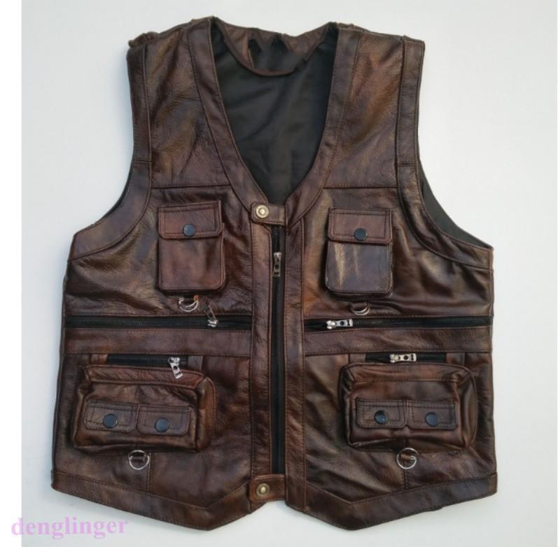 Cuero Vintage  outdoot de hombre con varios bolsillos Pesca Camping Chaleco Abrigo Retro Nuevo  ahorra hasta un 80%