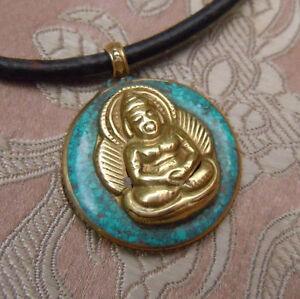 100% QualitäT Wunderschönes Messing Buddha Amulett Mit Echtem Türkis Tibet Hohe Sicherheit