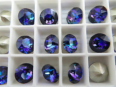 12 Crystal Heliotrope Foiled Swarovski Crystal Chaton Stone 1088 39ss 8mm