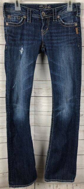 67f57a1a34413 Women s Silver Jeans Distressed Pioneer Boot Cut Jeans Size 26