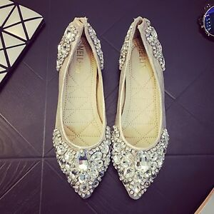 Womens-pointed-toe-Wedding-shoes-Flats-Rhinestone-Bridal-Shoes-Loafers-Ballet