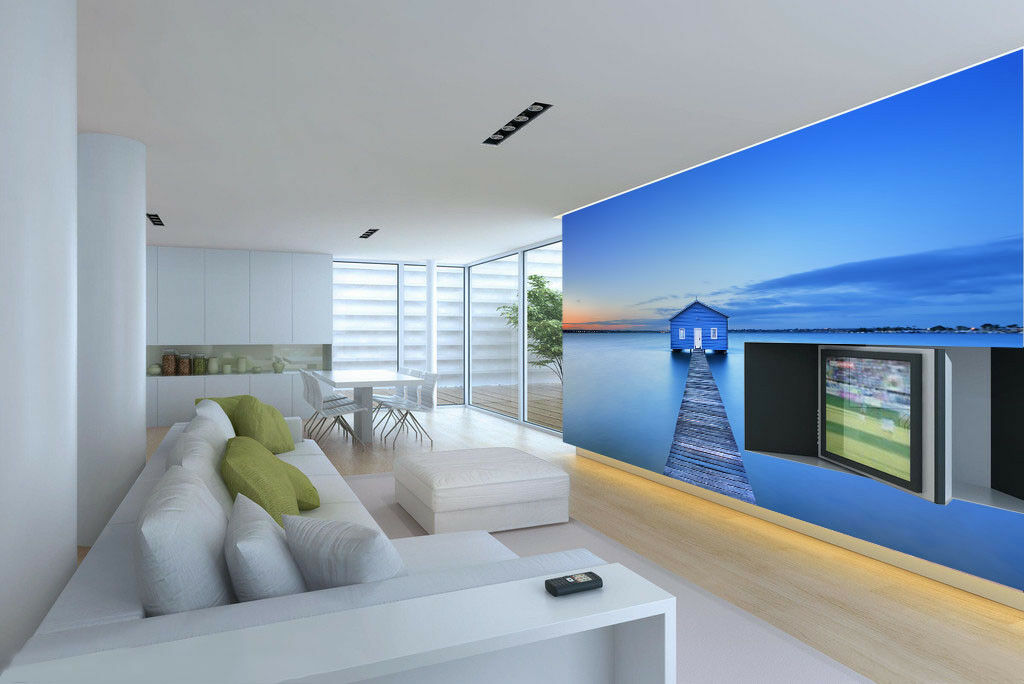 3D Sky River House 52 Wall Paper Wall Print Decal Wall Deco Indoor Mural Lemon