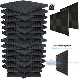 24-Pack-Acoustic-Foam-Soundproof-Panels-Studio-Wedge-Tiles-Charcoal-1-034-x-12-034-x-12-034