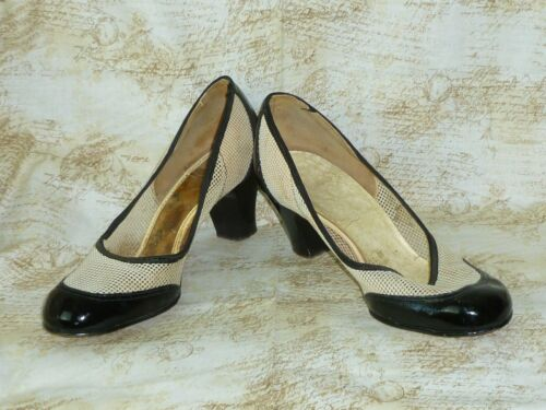 Vintage 1940s Mesh Shoes-Black & White Retro Fashi