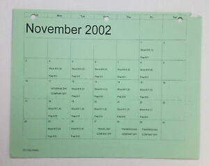 DAWSON-039-S-CREEK-set-used-paperwork-PRODUCTION-CALENDAR-schedule-page-Nov-2002
