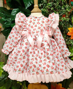 DREAM PINK OR LEMON BIB FRONT SPANISH  PUFFBALL DRESS 0-5 YEARS OR REBORN DOLLS