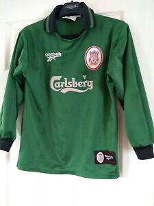 """Liverpool Reebok 90s Goalkeeper Shirt Green 30/32"""" Teenager"""